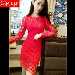 Silkfold - Long-Sleeve Lace Panel Sheath Dress