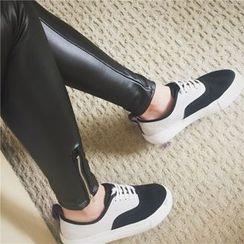 KCSTUDIO - Wet-Look Fleece-Lined Leggings