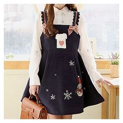 Sechuna - A-Line Embroidered Suspender Dress