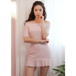 Chlo.D.Manon - Off-Shoulder Linen Blend A-Line Mini Dress