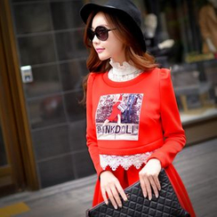 Dabuwawa - Lace-Trim Printed Cropped Pullover
