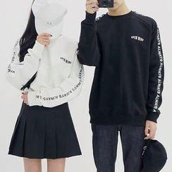Seoul Homme - Letter Print Raglan-Shoulder Sweatshirt