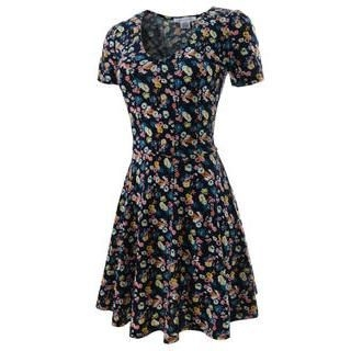 TheLeesW - Floral-Pattern A-Line Zip-Back Dress
