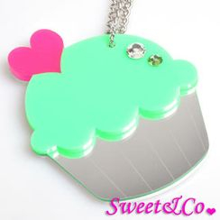 Sweet & Co. - Sweet&Co. XL Mirror Green Cupcake Silver Necklace