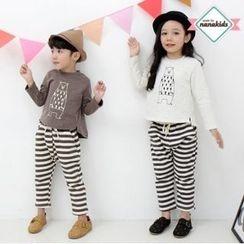 nanakids - Kids Set: Bear Print Brushed-Fleece Lined Top + Sweatpants
