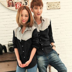Lovebirds - Couple Color-Block Shirt