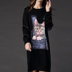 Mythmax - Long-Sleeve Fringe-Trim Applique Dress