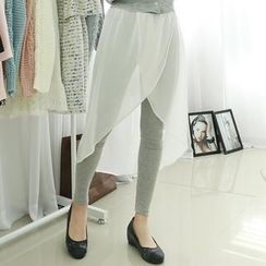 Dodostyle - Inset Chiffon Midi Skirt Leggings