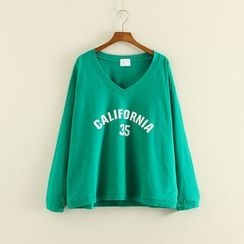 Mushi - Lettering V-Neck Long-Sleeve T-Shirt