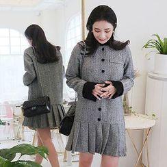Seoul Fashion - Pleated-Hem Herringbone Wool Blend Mini Dress