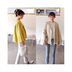 LEELIN - Wool Blend Open-Front Knit Jacket