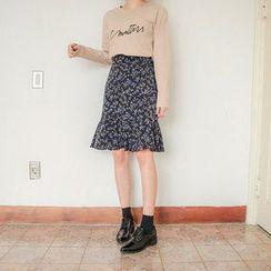 Seoul Fashion - Ruffle-Hem Floral-Pattern Skirt