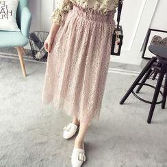 Qimi - Lace Hem Pleated Midi Skirt