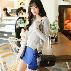 LULUS - Set: Slit-Side Sweater + Skirt