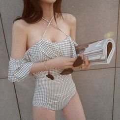 LANYI - Check Frilled Swimsuit