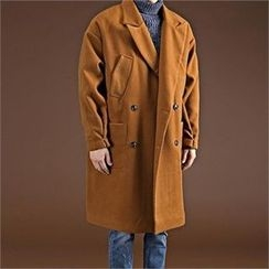 THE COVER - Peaked-Lapel Double-Breasted Wool Blend Coat