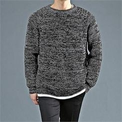 THE COVER - Crew-Neck Mélange Rib-Knit Sweater
