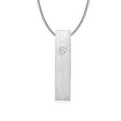 MBLife.com - Left Right Accessory - 9K/375 White Gold Satin Finish Rectangular Cube Diamond Necklace 16' (0.006 ct)