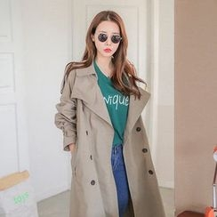 Seoul Fashion - Double-Breasted Trench Coat