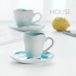 house on map - Set: Printed Tea Cup + Plate