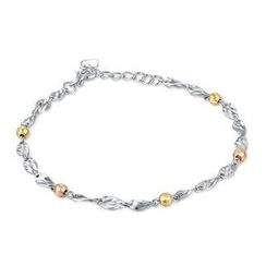 MaBelle - 14K Tri-Color, Rose, Yellow and White Gold Diamond Cut Bead and Twist Linked Bracelet, Women Jewelry Gift