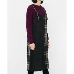 Someday, if - Plaid Cotton Midi Jumper Dress