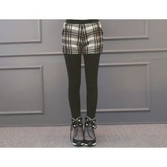 DANI LOVE - Inset Plaid Shorts Leggings