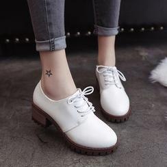 Charming Kicks - Block Heel Lace Ups