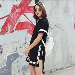 SUYISODA - Short-Sleeve Lettering T-Shirt Dress