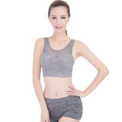 Delico - Set: Perforated Trim Sports Bra + Boyleg Panties