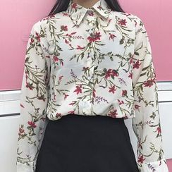 Queen Bee - Floral Print Long-Sleeve Blouse