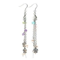 Bellini - Semi-Precious Gems & Flower Disc Dangly Earrings