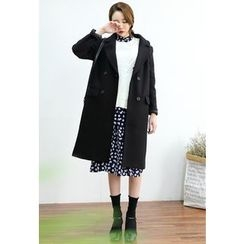 Dalkong - Notched-Lapel Double-Breasted Long Coat