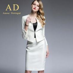 Aision - Toggle-Clasp Jacket / Pencil Skirt