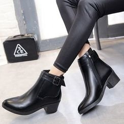 Yoflap - Chunky Heel Buckled Ankle Boots