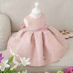 Little Princess - Kids Rhinestone Bow Accent Sleeveless Dress
