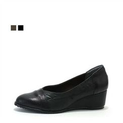 MODELSIS - Genuine Leather Wedge-Heel Pumps
