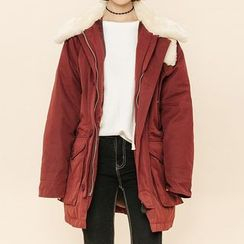 Heynew - Furry Collar Long Coat