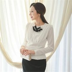 ode' - Detachable Necklace Shirred Top