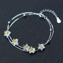 A'ROCH - 925 Sterling Silver Floral Layered Bracelet