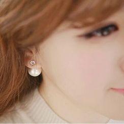 Ticoo - Faux Pearl Double-Sided Earrings