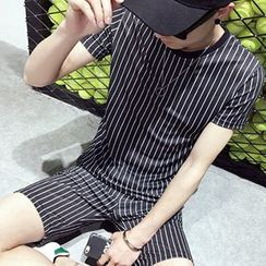 Fisen - Pinstriped Short-Sleeve T-shirt