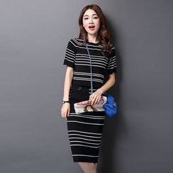 Moritale - Set: Short-Sleeve Striped Knit Top + Striped Knit Skirt