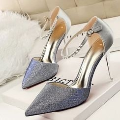 Mancienne - Jeweled Pointy High-Heel Sandals
