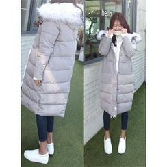 hellopeco - Faux-Fur Hooded Padded Coat