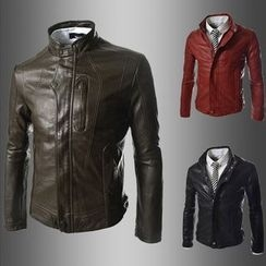 Hansel - Stand-collar Faux Leather Jacket
