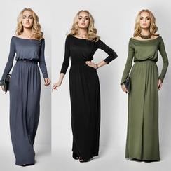 Hanni - Long-Sleeve Plain Maxi Dress