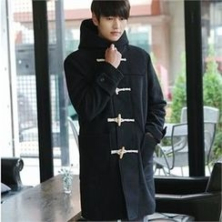 MITOSHOP - Hooded Wool Blend Duffle Coat
