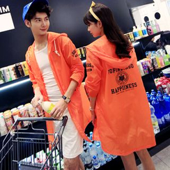 Evolu Fashion - Lettering Couple Matching Hooded Jacket