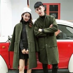 Simpair - Couple Matching Pocketed Long Woolen Jacket